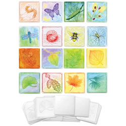 White Embossed Paper Set (Insect and Leaf Collection)