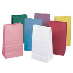 Rainbow Kraft Bags in Pastel Colors for Projects and Luminaries - 28 Bags