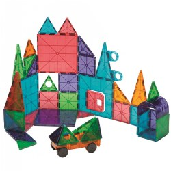 3 years & up. This unique set includes additional accessory pieces not found in other Magna-Tiles® sets such as a  hinged door, hole punched triangles, arch, wheeled chassis, and more! For young minds taking flat objects and constructing 3-D objects is a new and exciting discovery.  Each tile is constructed with bright clear colors with magnets on all sides. The secret is the unique ability to attract even when they are flipped. This 48 piece unbreakable set includes square and triangular tiles in a variety of sizes.