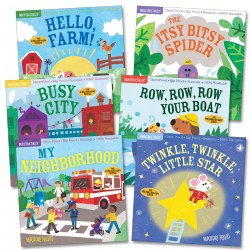 "6 months & up. Real along to classic nursery rhymes with your little one or talk with your baby about the exciting world around them with this set of Indestructibles Community & Nursery Rhyme Picture Book Set. Each book features a different theme containing simple words and phrases to accompany the illustrations. These soft and paper-like books are designed to be chew proof, rip proof, and drool proof for babies who ""read"" with their hands and mouths. Made of waterproof, tear-resistant, baby-durable, and non-toxic material. Books can be cleaned in the dishwasher or washing machine Community Book titles include ""My Neighborhood"", ""Busy City"", and ""Hello, Farm!"" Nursery Rhyme Book titles include ""Twinkle, Twinkle, Little Star"", ""Row, Row, Row Your Boat"", and ""The Itsy Bitsy Spider!"""