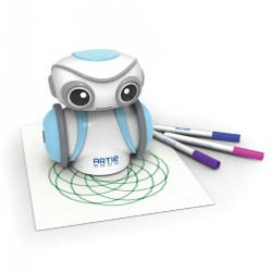 7 years & up. Meet Artie 3000! The drawing robot that helps kids learn to code. Drag and drop the code and watch Artie draw your designs. Choose from pre-loaded games like Tic-Tac-Toe or test out new codes to design your own game. The possibilities are endless to the masterpieces you can create from letters and numbers, shapes, and unique designs - line by line. Artie 3000 features 360-degree movement and controllable via remote control app from a desktop, laptop, or tablet. Follow Artie's QuickStart guide and the step-by-step instruction cards to easily setup the robot. The robot has a drag and drop coding interface with built-in apps (JavaScript, Python, Snap!, Remote Control). Artie 3000 includes a safe and secure built-in Wi-Fi server that does not require an internet connection. Supports STEM and STEAM-based learning experiences. Requires 4 AA batteries (not included). Included: Artie 3000 Coding Robot and 4 Washable Colored Markers.