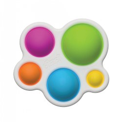 6 months & up. Bring safe fidget toy fun on the run with the Dimpl Sensory Development Toy by Fat Brain Toys. This unique toy features rounded edges and five colorful silicone buttons in a variety of sizes and colors. When pressed, each button pops in and out with gentle thumps in different tones. One touch and your fingers can't stop pushing, poking, and popping! Dimpl helps children develop their fine motor skills while keeping them captivated for hours. Made from non-toxic, high-quality plastic and silicone.