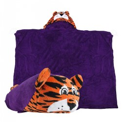 Comfy Critters Hooded College Blanket - Clemson Tiger