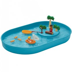 3 years & up. Bring a magical island surrounded by a vast ocean to your home or classroom with this mini Water Play Set by Plan Toys. Fill the tray with water, add trees and more to the raised circle to create your island, add in your people and accessories and play! Children will love taking the little figures on boat rides, pretending to fish with them, and more! Encourages creative water play. Tray is made from 100% sustainable rubber and pieces are made from waterproofed wood with non-toxic paints. Includes: 1 Water tray, 1 Paddle boat, 1 Sailing boat, 2 Figures, 1 Log, 3 Fish, 2 Different heights of trees and 1 Bush.