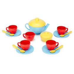 Eco-Friendly Tea Set - Blue/Red/Yellow