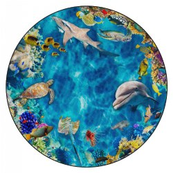 6' Photo-Fun Into The Sea Round Rug