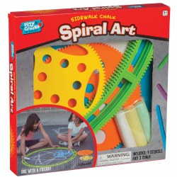 5 years & up. Create incredible geometric spirals with sidewalk chalk! Snap the tracks together and roll a stencil along the ridges like a cog. It's like a giant-sized Spirograph® toy set! Set includes a wheel, nine stencils, and three pieces of chalk.