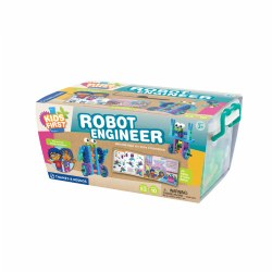 "3 years & up. Join Ty and Karlie on their robotic adventure to save the candy factory! This Robot Engineer Kit by Thames & Kosmos is an incredibly fun and engaging way to introduce kids to the basics of robotic engineering. As they read the beautifully illustrated storybook and follow Ty and Karlie's robot building journey they will find step-by-step instructions on how to create each robot they make in the story. When Ty and Karlie make a hilarious taffy-pulling robot to help save the factory your child will have all that they need to make one of their own, along with nine other robots that rotate and move. Start laying the groundwork for STEM related skills and comprehension in a hilariously creative way. Pieces made from durable, non-toxic plastics. Size: 14.7"" x 6.3"" x 9.4"""