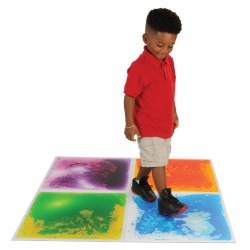 "3 years & up. Step on and watch it move! Create a colorful, liquid-tiled floor space with this bright, futuristic Liquid Tile Spooner Mat. Children and adults alike will all gaze in wonder as they step on each mat and watch the liquid move with the pressure of their feet as they walk. It will feel just like you are surfing on colorful waves without ever having to leave the ground! Made from super durable, leakage-proof material and filled with non-toxic, cosmetic liquid. Features an anti-slip back side and easily wipes clean. No weight limit. Mat measures 19.5"" x 19.5"". Select the set of four or buy them individually. Please note: mats need to be placed on an even surface and handled with care, may break if dropped."