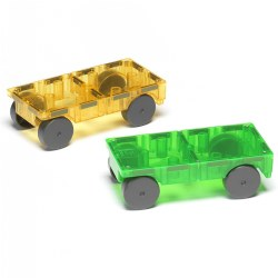 "3 years & up. These colorful, translucent Magna-Tiles® cars are designed to work perfectly with Magna-Tiles® building sets. Use the magnetic building pieces to create fun designs on the car's magnetic base. Build tracks, mazes and garages to house your newly designed car and take it all apart when you are ready to design and build again. Cars work well with most Magna-Tiles® sets (sold separately). Included: 2 Different color Magna-Tiles® Cars. Size: 3"" x 6"" x 2""."