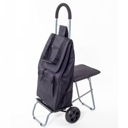 The 2-in-1 Trolley Dolly with Seat - Black