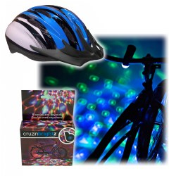 Medium Blue Helmet & CruzinBrightz Bike Light Set