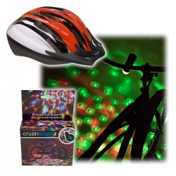 Medium Red Helmet & CruzinBrightz Bike Light Set