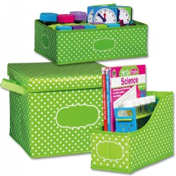 Storage Bins - Lime/Polka Dots