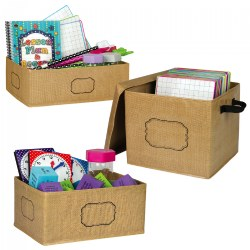 "Add a splash of rustic texture and color to your classroom, desk space, or bedroom with these practical Burlap storage bins. Use them to store books, notebooks, magazines, folders, odds and ends, and more. The write-on/wipe-off labels are easy to clean and perfect for organization. All bins easily fold up for storage. Storage Box with Lid size: 12"" x 13"" x 10.5"". Large Storage Bin size: 16"" x 11"" x 5"". Small Storage Bin size: 8"" x 11"" x 5""."