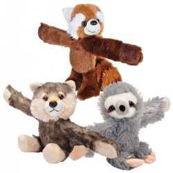 Huggers Plush Sloth, Wolf, and Panda