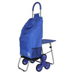 Stair Climber 2-in-1 Trolley Dolly with Seat - Blue