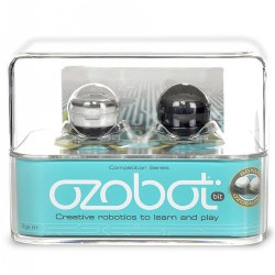 6 years & up. Exercise the power of your mind to program one of the world's smallest smart robots! The Ozobot Bit introduces kids to the wonders of technology while teaching them coding and encourages creativity. It's a unique and exciting way to introduce kids to STEM concepts. Features interactive games, STEM lessons, and DIY activities. Includes: 1 Crystal White Ozobot Bit and 1 Titanium Black Ozobot Bit.