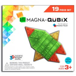 3 years & up. Build exciting 3D structures with colorful, magnetic cubes, rectangular prisms, square pyramids and more! This Magna-Quibix building set takes the classic Magna-Tiles® building style to the next level. Each shape is a different semitransparent color. Included: 19 Pieces in 5 different shapes: Cubes, Triangular Prisms, Rectangular Prisms, Square Pyramids, and Hexagonal Prisms. 3D Pieces are constructed with magnets on all sides that attract even when they are flipped.