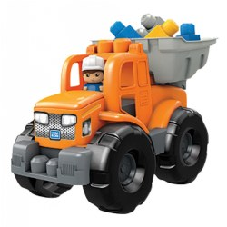 "1 year & up. This rugged 2-in-1 Transforming Tractor and Dump Truck is ready to get to work! Attach the bucket in the front to push your blocks into a pile and then put it on the back and load them in. Truck also features a pronged roof and front end so you can build onto it with your blocks. Truck size: 13.6""L x 7.5""W x 9.5""H. Included: 2-in-1 Transforming Tractor and Dump Truck, 1 Block Buddy, and 11 Building Blocks."