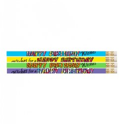 Happy Birthday Wishes Pencils (Box of 12)