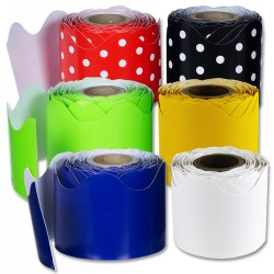 Rolled Scalloped Polka Dot Borders Set - Set of 6
