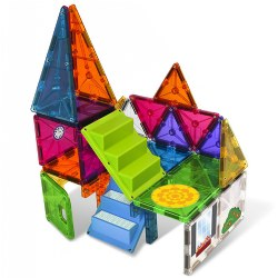 3 years & up. For young minds taking flat objects and constructing 3-D objects is a new and exciting discovery, teaching spatial relationships, math, logic, and problem-solving through creative building! This unique Magna Tiles House set features unique shapes and 21 reusable silicone stickers so your child can customize the structures they build. Included: 28 Magna Tiles and 21 Reusable silicone house-themed stickers.