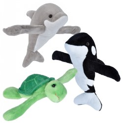 Huggers Plush Sea Dolphin, Turtle, and Orca