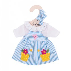 Bigjigs Doll Striped Blue Dress - Small