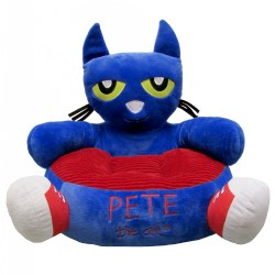 "2 years & up. Children can sit down and relax in the Pete the Cat Soft Reading Chair! This soft plush chair with a corduroy seat makes a comfortable spot to read and lounge. The chair features the whimsical expression of Pete the Cat just like in the beloved children's book. Child size chair with a 25"" diameter."