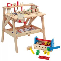 Wooden Workbench & Tool Kit Set