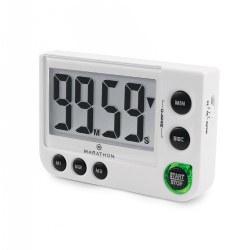 Marathon Large Display Digital Timer with Adjustable Volume - White