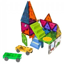 Magna-Tiles® 28 Piece Mixed Colors House & Car Expansion Set