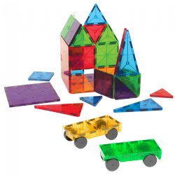 Magna-Tiles® 32 Piece Clear Colors & Car Expansion Set