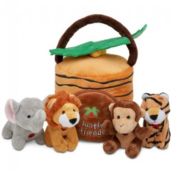 Plush Jungle House Carrier with 4 Talking Soft Safari Plush Animals