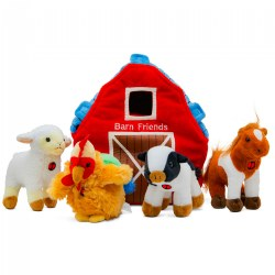Plush Barn House Carrier and 4 Talking Soft Cuddly Plush Stuffed Animals