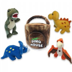 Plush Dino House with 4 Plush Soft Talking Dinosaurs Set