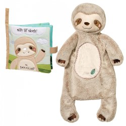 Cuddle Toys Silly Little Sloth Sshlumpie™ and Crinkle Cloth Book Set