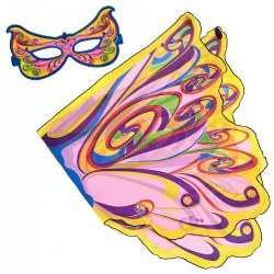 Douglas Fairy Wings and Mask Set - Rainbow