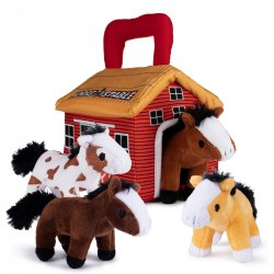 Plush Horse Stable Talking Animals Set