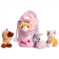 Plush Cat House Carrier with 4 Soft Talking & Meowing Plush Kittens Set