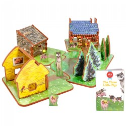 The Three Little Pigs 3D Puzzle - Book and Toy Set - 3 in 1 - Book, Build, and Play