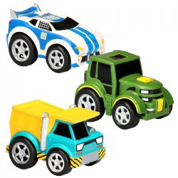 Pull-Back Race Car, Tractor and Dump Truck