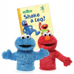 Elmo and Cookie Monster Hand Puppets with Board Book