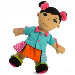 Fastening Learn To Dress Doll - Female with Two Pink Bows