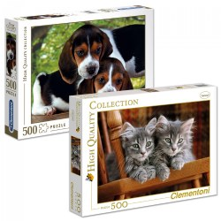 Gray Kittens & Beagle Puppies - Two 500 Piece High Quality Collection Puzzles