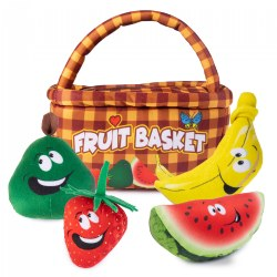 Plush Fruit Basket Carrier with 4 Plush Soft Talking Fruit