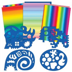 Double Color Rainbow Paper and Unruly Rulers - 4 Silly Stencils