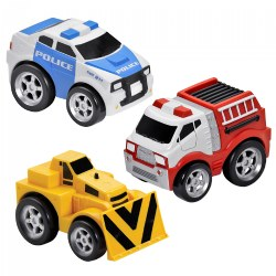 Pull-Back Bulldozer, Fire Truck and Police Car