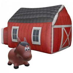 AirFort Farmers Barn Tent & Farm Hoppers® Inflatable Bouncing Horse